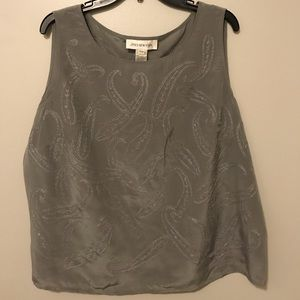 Jones of New York Gray Embroidered Tank